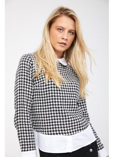 Reyon REYON Kadın Gömlek Yaka Bluz Beyaz Siyah